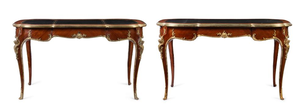 A Pair of Gilt Bronze Mounted Kingwood Bureau Plats