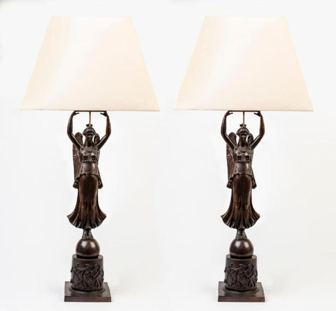 A Pair of Empire Style Bronze Lamps