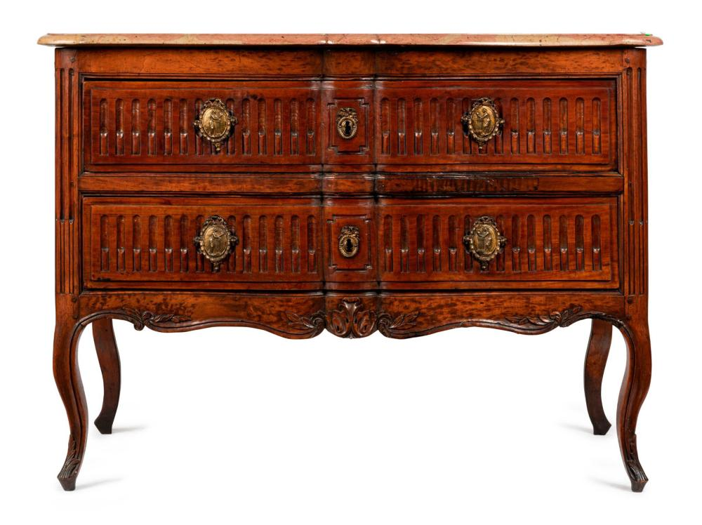 A Louis XV style marble top commode, French, 19th century