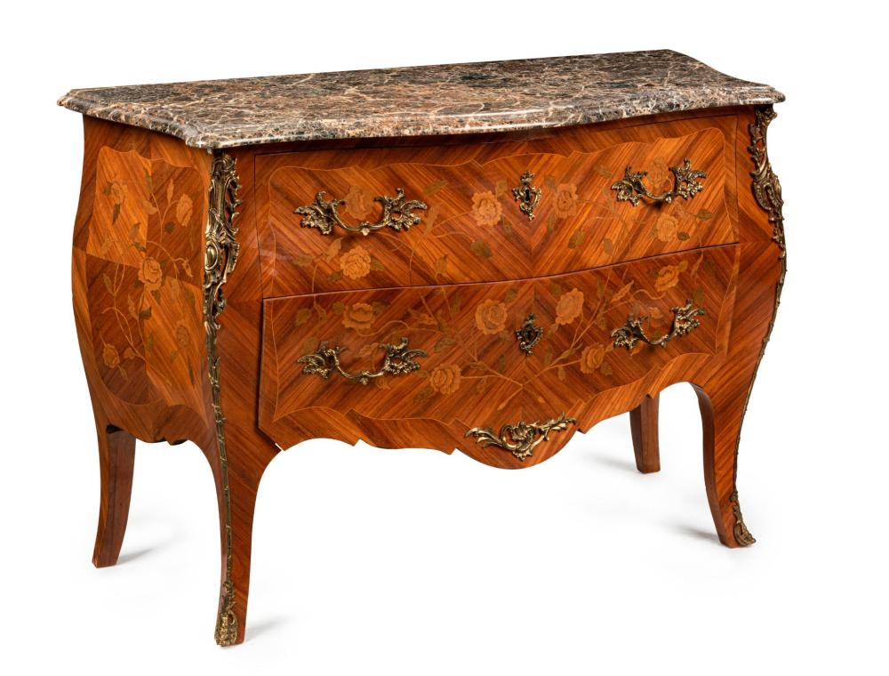 A Louis XV Style Marble Top Commode