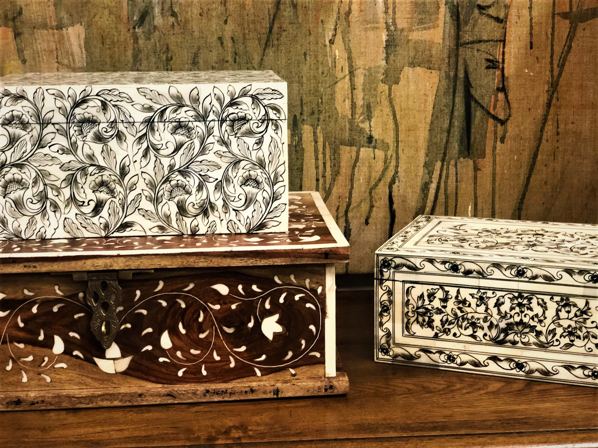 Floral Bone Inlay Box