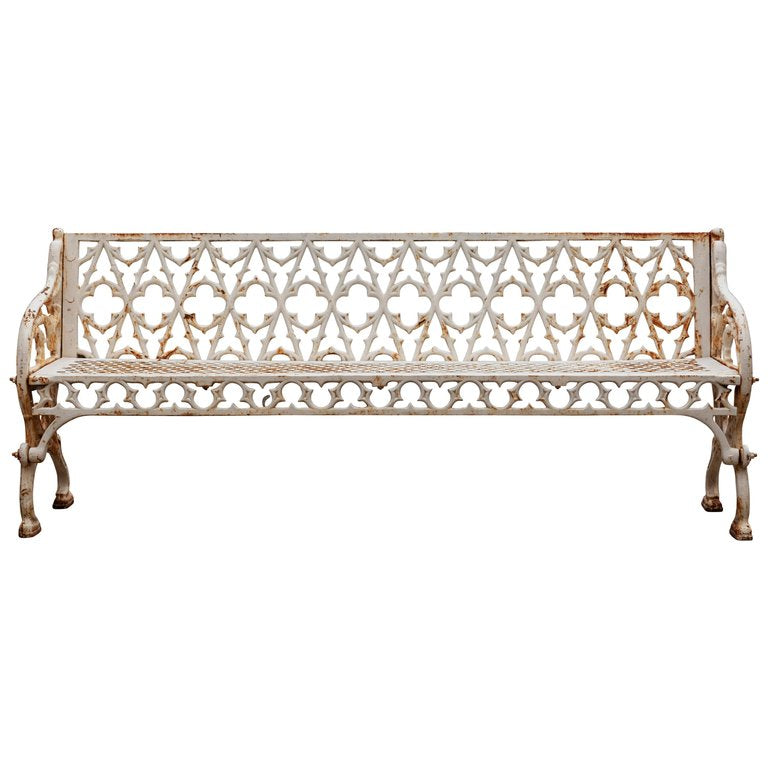 A Victorian Cast Iron and White Painted Bench