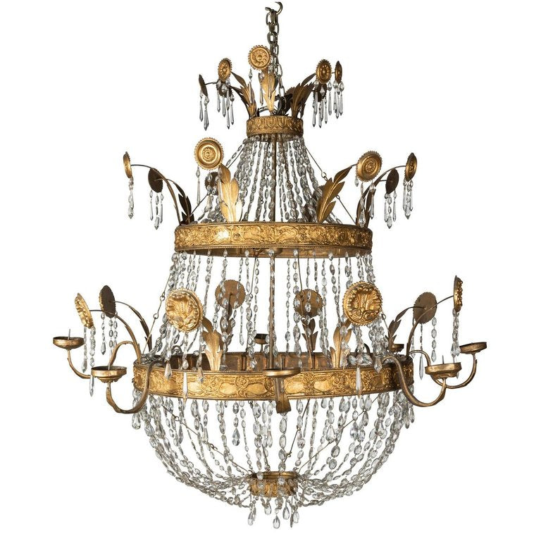 A Late 18th Early 19th Century Spanish Theater Two-Tier Basket Chandelier