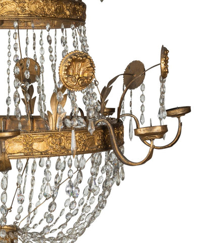 A Late 18th Early 19th Century Spanish Theatre Two-Tier Basket Chandelier