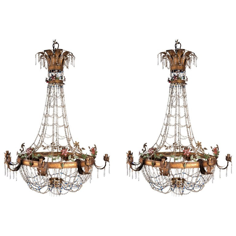 Pair of 19th Century Italian Theatre Eight Light Basket Chandeliers