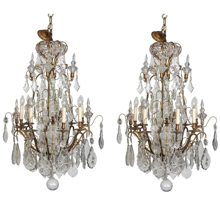 Pair of Early 19th Century French Louis XV Style Crystal and Ormolu Chandeliers
