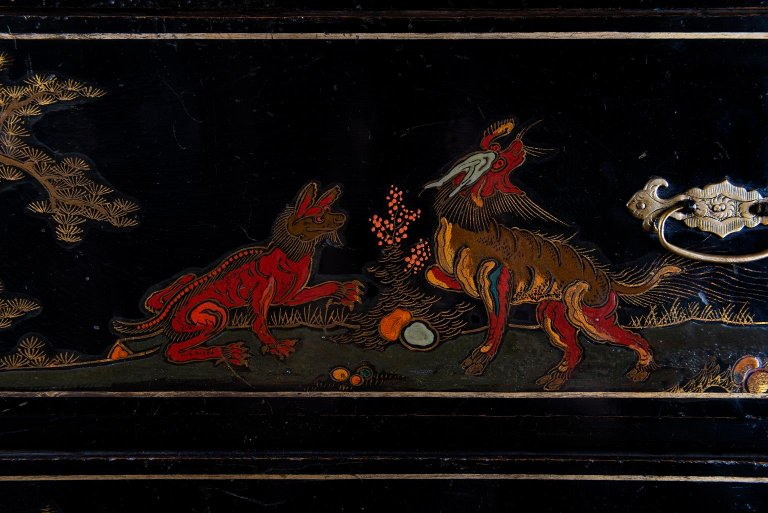 An Early 18th Century Large Chinoiserie Black Lacquer Cabinet