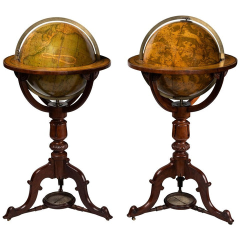 A Pair of 19th Century Timber Globes by Crutchley's