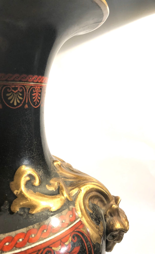A Ceramic 19th Century Red, Gold, Cream and Black, Grand Tour Amphora