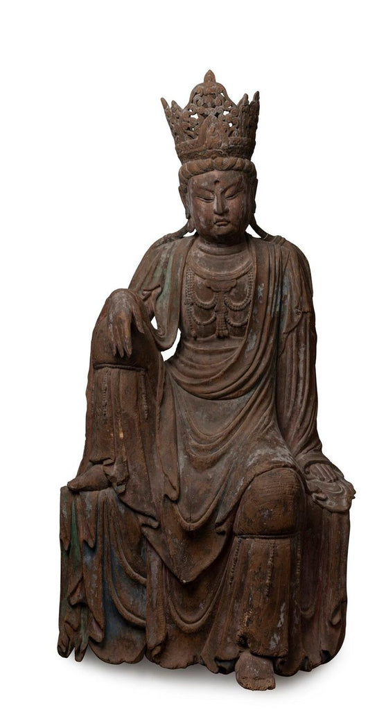 A Ming Dynasty Chinese Carved Wooden Figure of a Bodhisattva Guan Yin