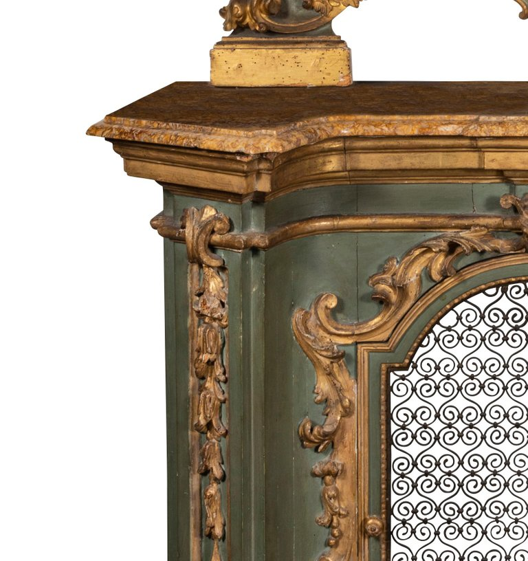 Late 18th-Early 19th Century Italian Gilt Painted Console Cabinet and Mirror