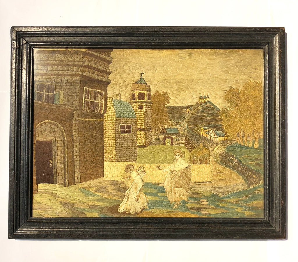 A 19th Century Dutch Naive Needlework in Ebonized Timber Frame