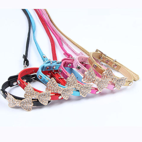 Bright Rhinestone Collar Leash Sets
