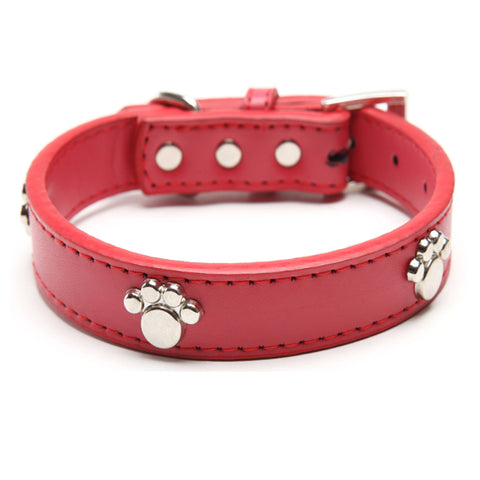 Designer Leather Paw Studded Collar