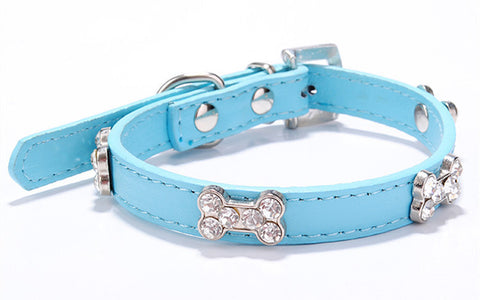PU Leather Collar with Bone Accent