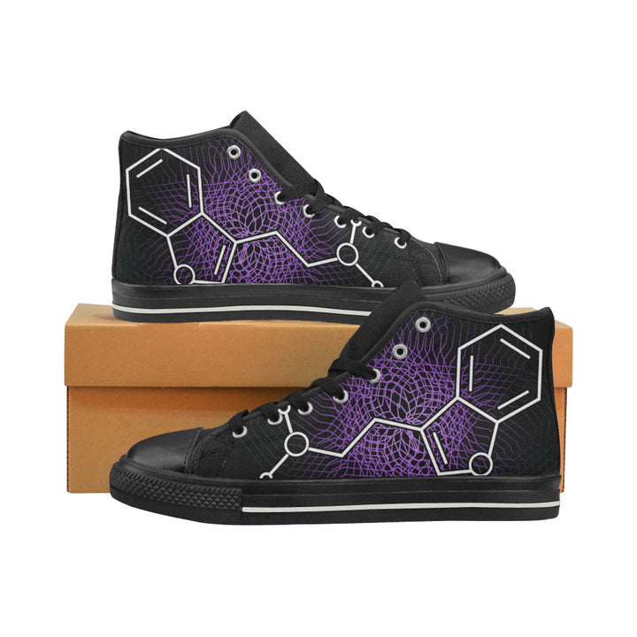 'DMT Molecule' purple black high top canvas sneakers by Nick Zervos