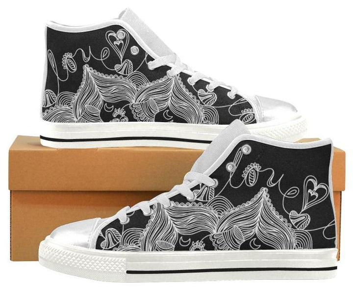 *Featured Gear* 'LoveBrushed' Womens High Top White Trim Sneakers by Holly Lindin