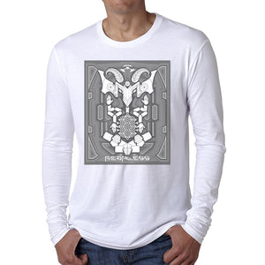 Nick's Baphomet DMT Entity Grey Long Sleeve Fitted Crew White