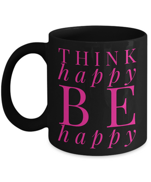 Think Happy Black Pink Mug