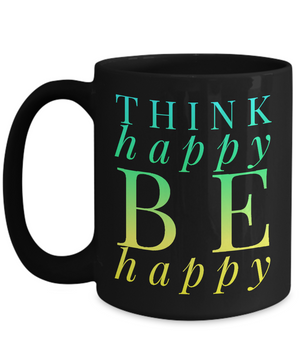 Think Happy Black Green Mug