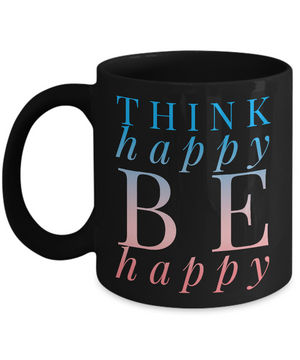 Think Happy Black Blue Mug