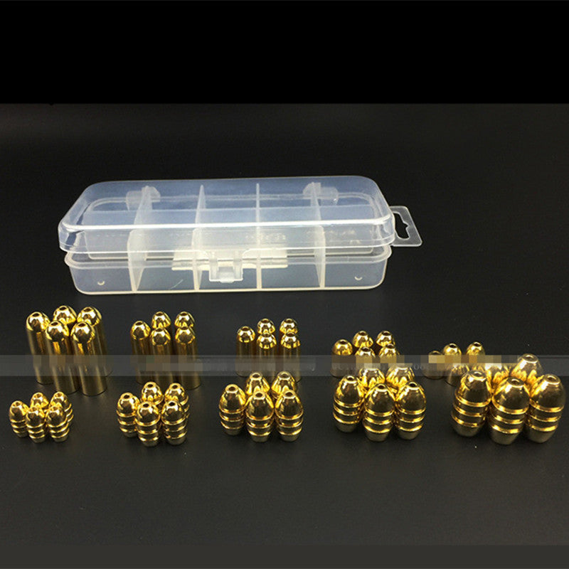 50Pcs/Box Copper Bullet Weights Fishing Sinkers 1.8g/3.5g/5g/7g/10g in Plastic Fishing Accessories Tackle Box