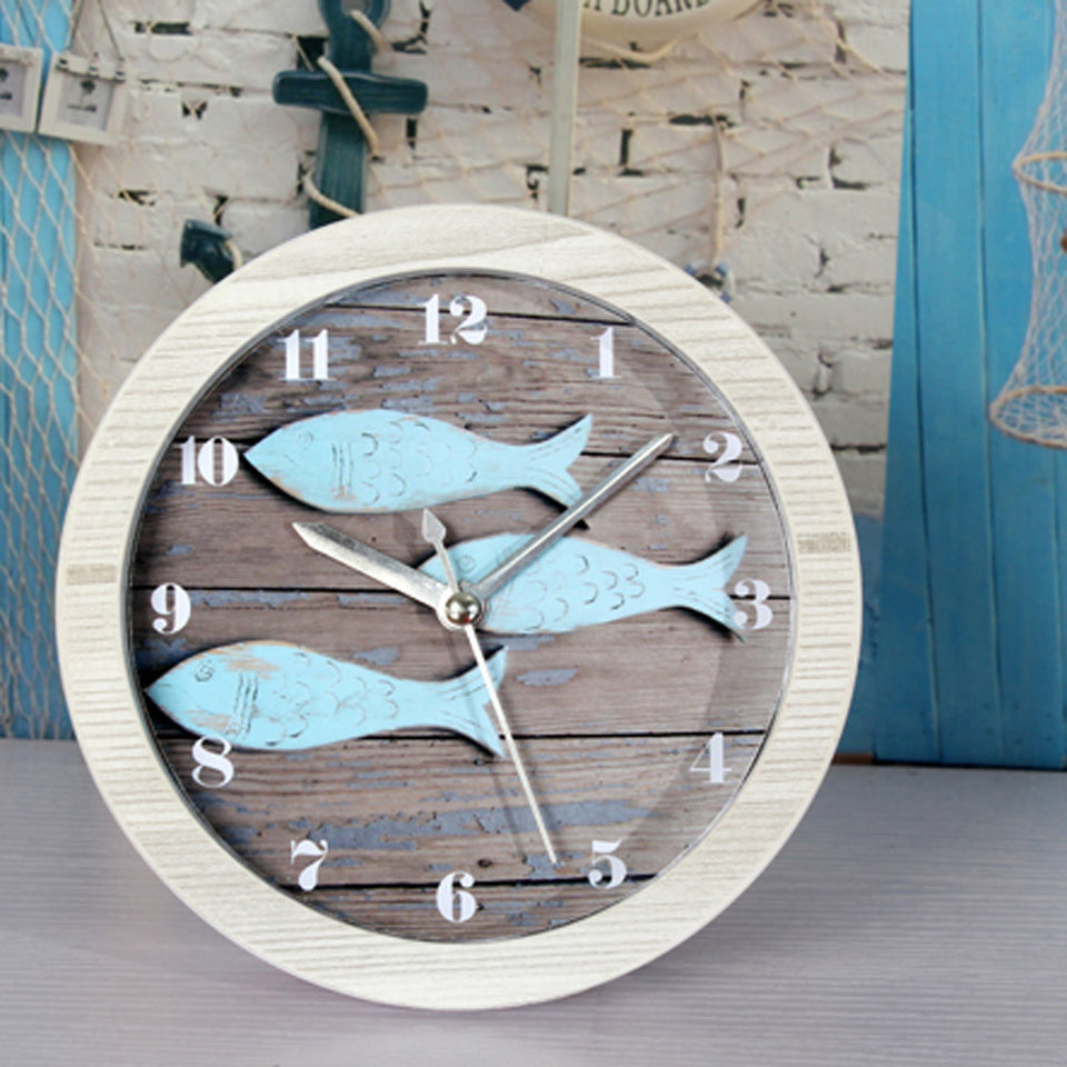 Europe Mediterranean Sea Retro Blue Fish Alarm Clock