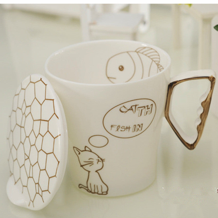 Cat Fish Ceramic Coffee Mug With Cup Lid