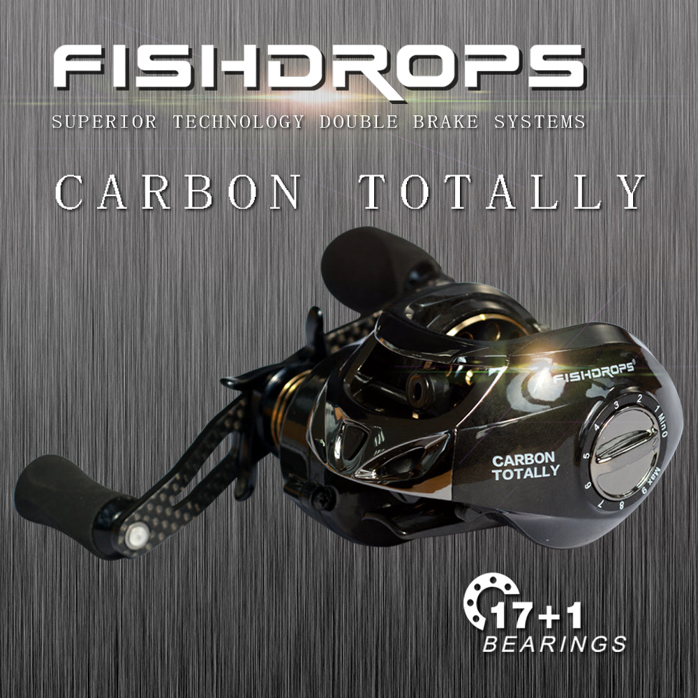 Carbon Fiber 167g Two Brake System Fishing Reel 18BB High Speed Gear Ratio 7.2:1