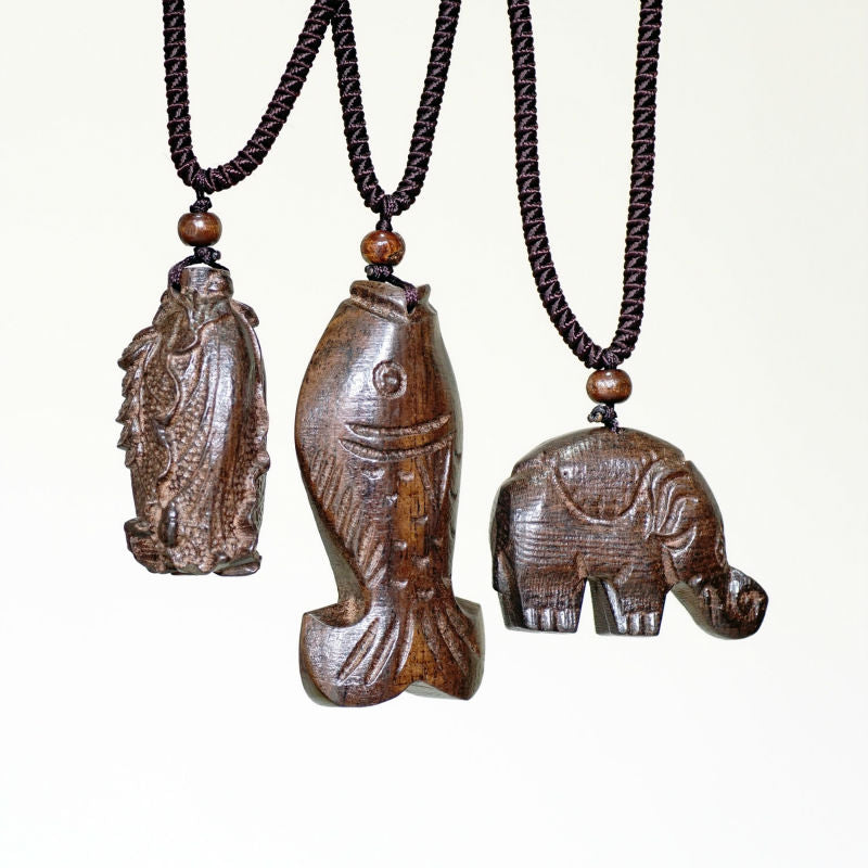 Vintage Necklace Big Pendant Ethnic Necklace Wooden Fish Elephant Cabbag