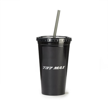 737 MAX MIDNIGHT SILVER STRAW TUMBLER