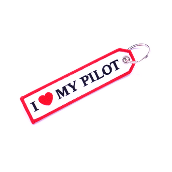 I LOVE MY PILOT (WHITE AND RED) KEYCHAIN