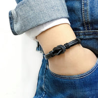 Black braided leather bracelet with Hemp rope