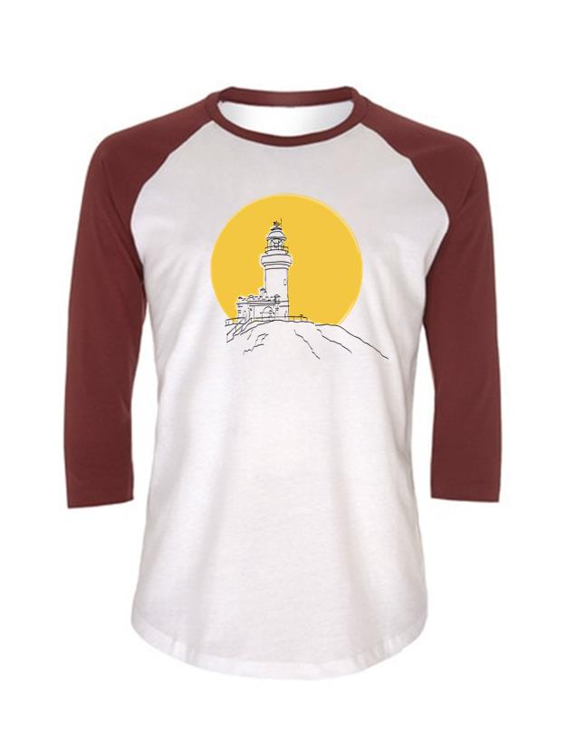 Lighthouse baseball shirt - white & burgundy