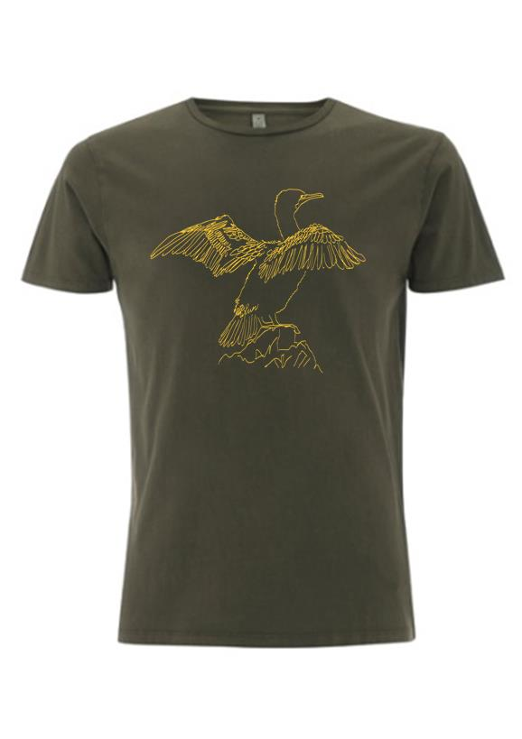 Pied Cormorant T-shirt - army green