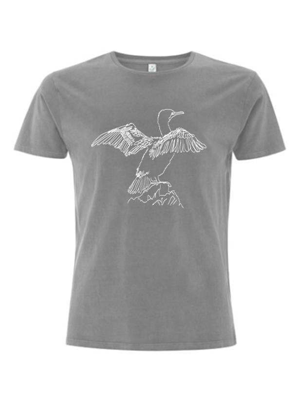 Pied Cormorant T-shirt - light grey