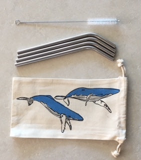 Stainless steel bent straws - set of four