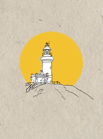 Lighthouse card - yellow