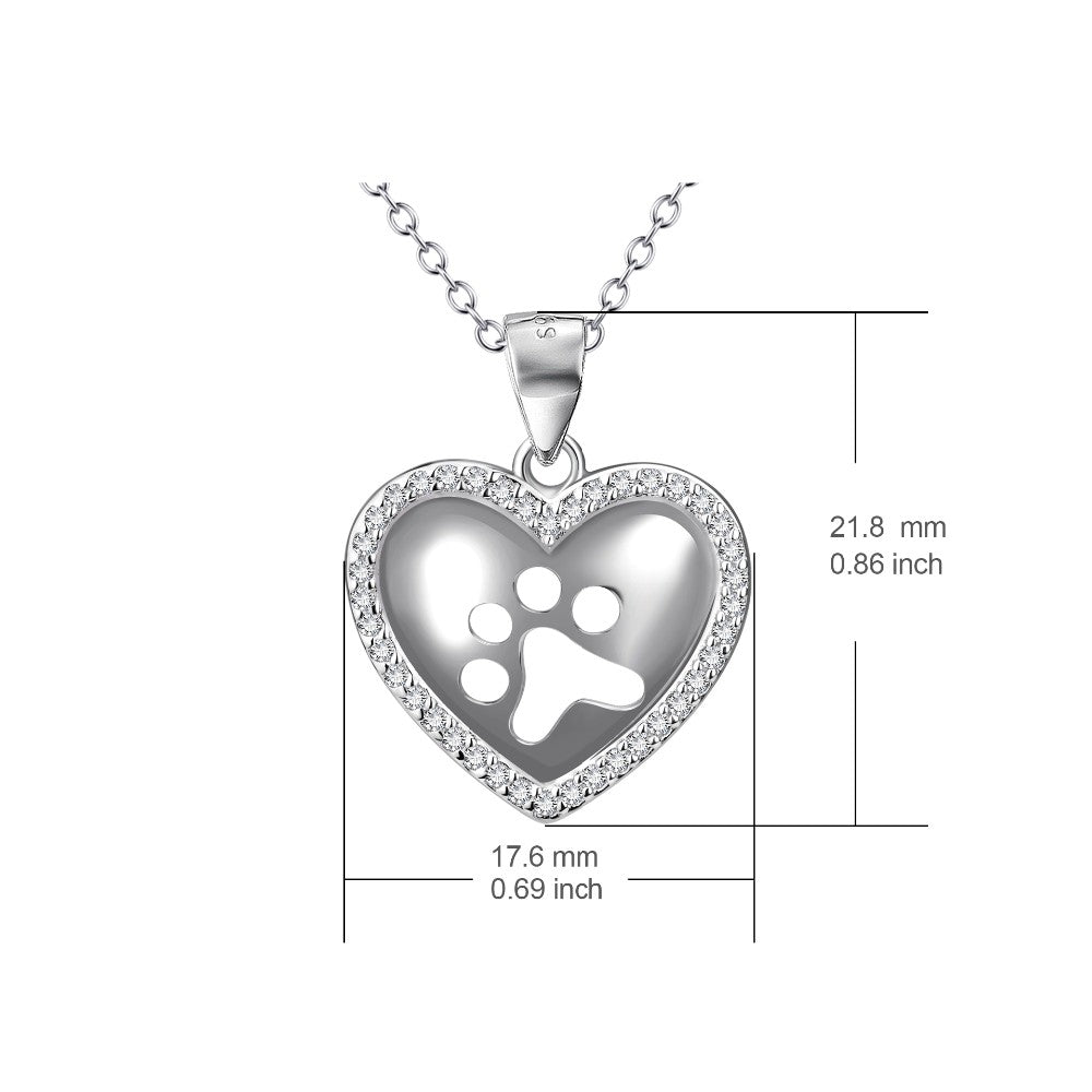 925 sterling silver paw print heart pendant necklace amazing pet trendy design great birthday or xmas gift for friends and love ones pendant size 218 176 mm chain length and width 45 cm and 12 mm aloadofball Gallery