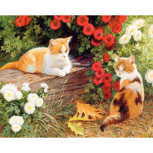 DIY Cats In Garden Painting By Numbers