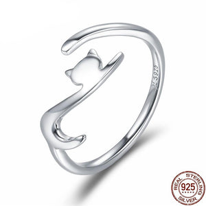 925 Sterling Silver Cat with Long Tail Ring - Amazing Pet
