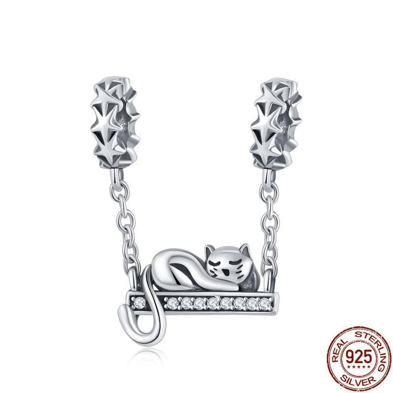 925 Sterling Silver Cat On Swing Charm - Amazing Pet