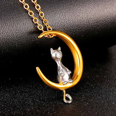 Cat On The Moon Pendant Necklace - Amazing Pet