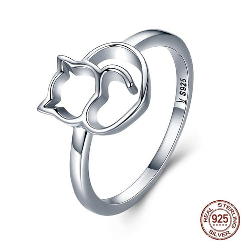925 Sterling Silver Cuddling Cat Ring