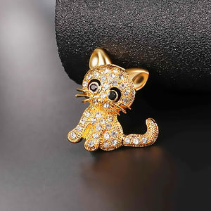 Little Cat Rhinestone Crystal Pin - Amazing Pet