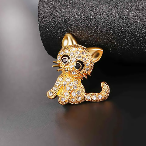 Little Cat Rhinestone Crystal Pin
