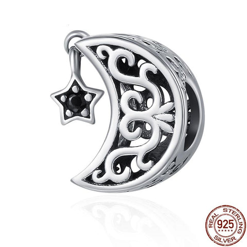 925 Sterling Silver Moon and Star Charm - Amazing Pet