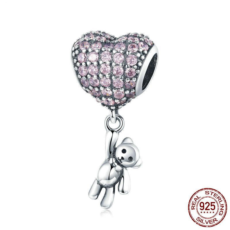 925 Sterling Silver Heart Bear Charm - Amazing Pet