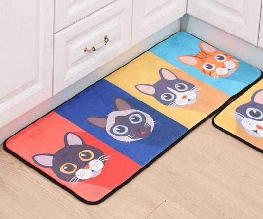 Colorful Cat Print Floor Mat / Carpet