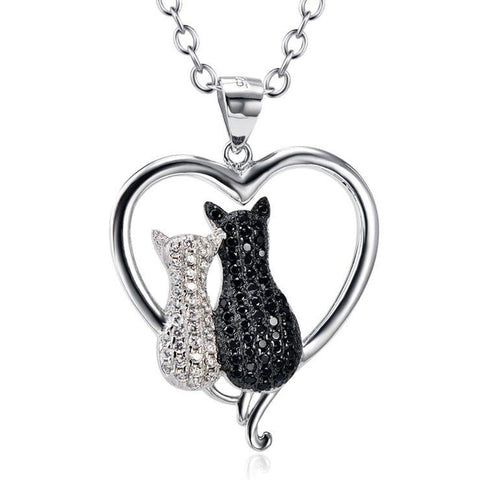 S925 Sterling Silver Crystal Cat Pendant Necklace